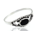 Oval Onyx Ring With Ball Border