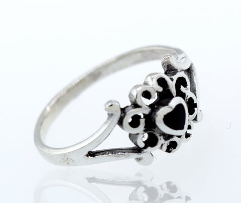 Onyx Heart Ring With Swirl Design