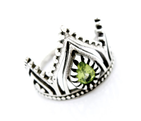 Silver Crown Ring With Teardrop Shape Peridot