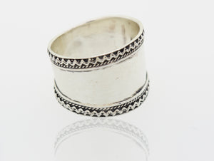 Wide Silver Band with Etched Rope Border