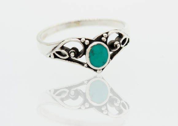 Crown Shape Sterling Silver Ring with Oval Turquoise