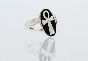 Inlay Onyx Ankh Ring