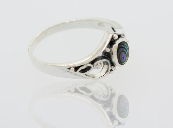 Crown Shape Sterling Silver Ring with Oval Abalone