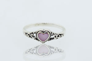 Mother of Pearl heart Ring with Rope Border and Swirl Filigree Design