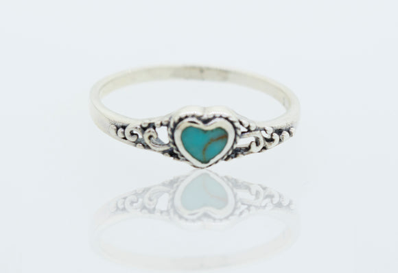 Turquoise heart Ring with Rope Border and Swirl Filigree Design