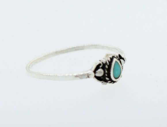 Delicate Sterling Silver Ring with Teardrop Shape Stone
