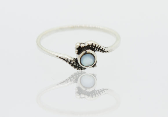 Beautiful Delicate Silver Ring With a Small Mother of Pearl