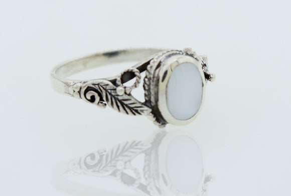 Beautiful Oval Stone Ring with Leaf Design