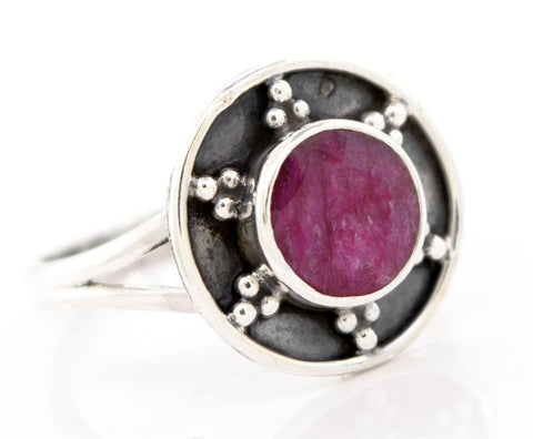 Ruby Ring With Unique Oxidized Silver Design