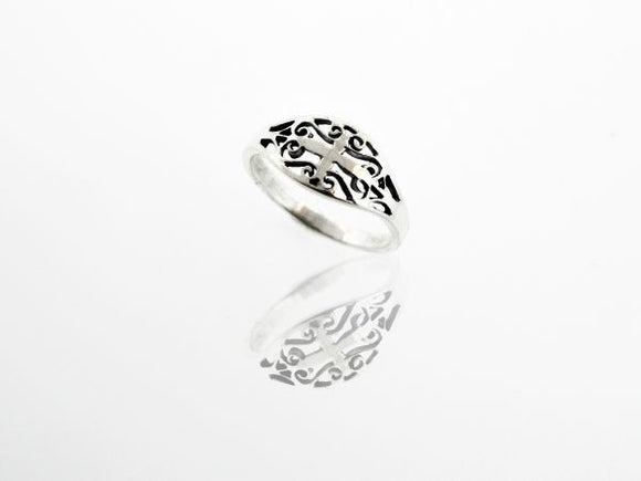 Elegant Cross Ring With Swirls