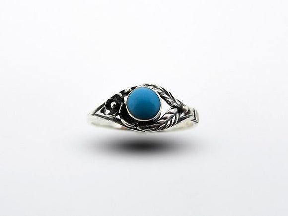 Blue Turquoise Ring with Flower and Leaf Design