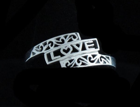 """Love"" Ring Framed with Filigree"