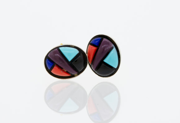 American Made Multi-Stone Oval Shape Stud Earrings