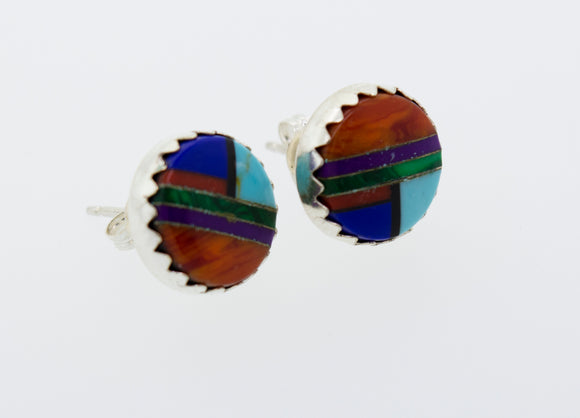 American Made Multi-Stone Round Stud Earrings