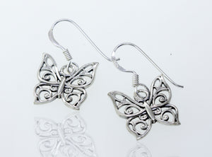 Butterfly Earrings With Vine Design