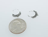 Small Silver Hoop Earrings with Freestyle Rope and Ball Design