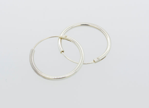 Silver Infinity Hoops 1mm X 17.5mm
