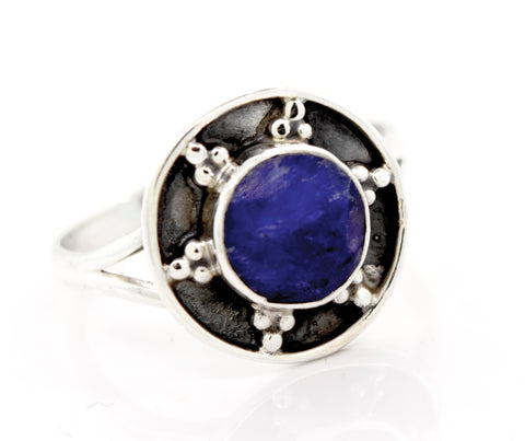 Sapphire Ring With Unique Oxidized Silver Design