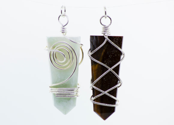 Tapered Slab Pendant with Intricate Wire Wrapping