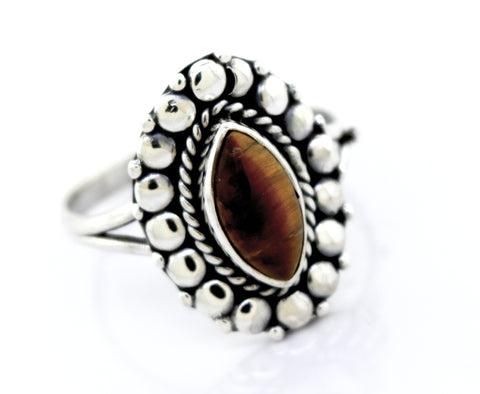 Marquise Shaped Vibrant Tiger's Eye Ring