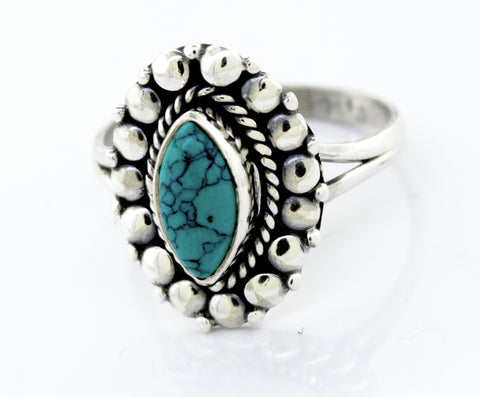 Marquise Shaped Vibrant Turquoise Stone Ring