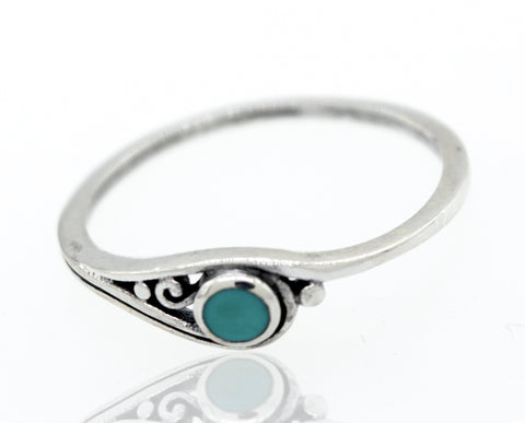 Delicate Turquoise Ring With Round Stone And Simple Swirl Design