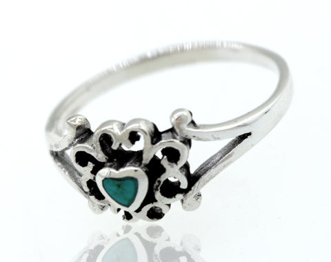 Turquoise Heart Ring With Swirl Design