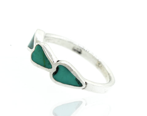 Green Turquoise Three hearts Ring