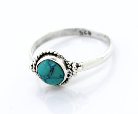Simple Round Turquoise Ring With Rope Border