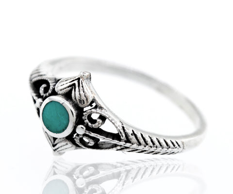 Round Turquoise Ring With Heart Design