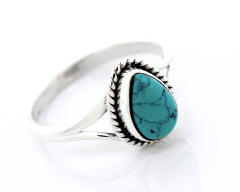 Vibrant Teardrop Shape Turquoise Ring