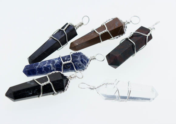 Obelisk-Shaped Stone Pendant with Twist Wire-Wrapping