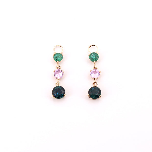 Gemstone Drop Hoop Charms (pair)
