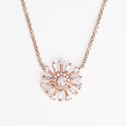 Baguette Diamond Flower Necklace