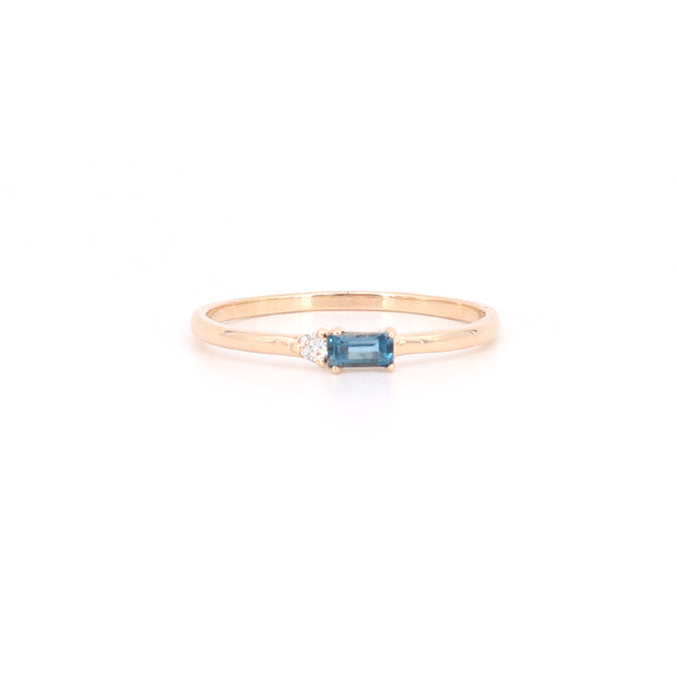 Topaz Baguette & Diamond Ring