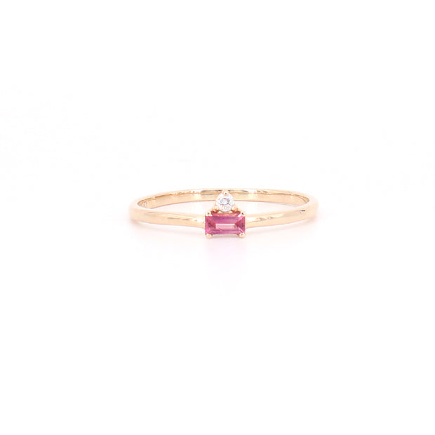 Tourmaline Baguette & Diamond Ring