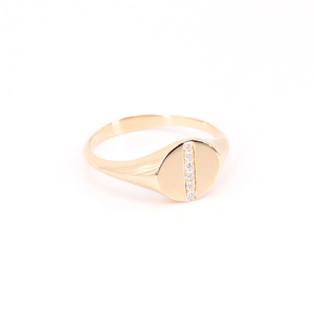 Diamond Line Signet Ring