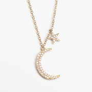 Large Diamond Star & Moon Necklace