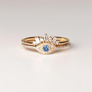 Diamond Evil Eye & Baguette Crown Ring Set