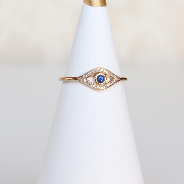 Diamond & Sapphire Open Eye Ring