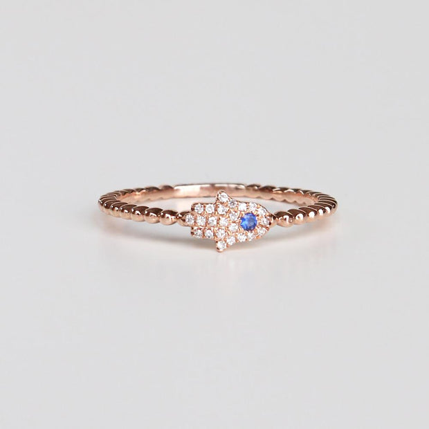 Mini Diamond Hamsa Ring