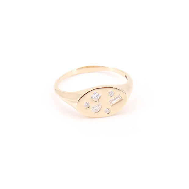 Multi Diamond Signet Ring