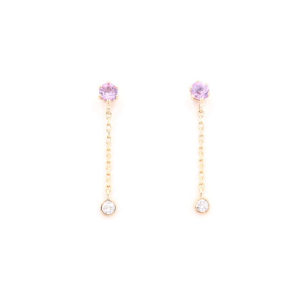 Pink Sapphire & Diamond Drop Earrings