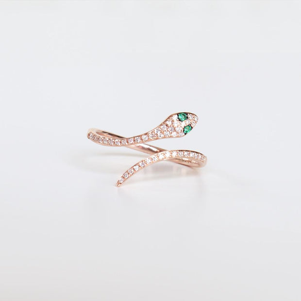 Emerald Eye Diamond Snake Ring
