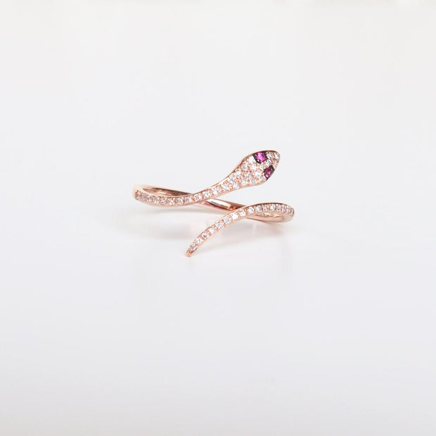 Ruby Eye Diamond Snake Ring