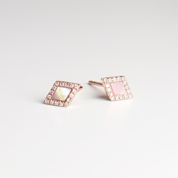 Mother of Pearl Diamond Studs (pair)