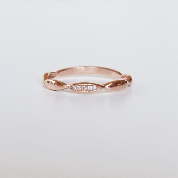 Diamond Wave Rose Gold Band