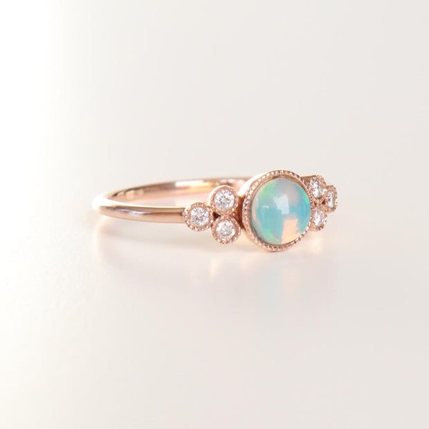 Rose Opal & Diamond Ring