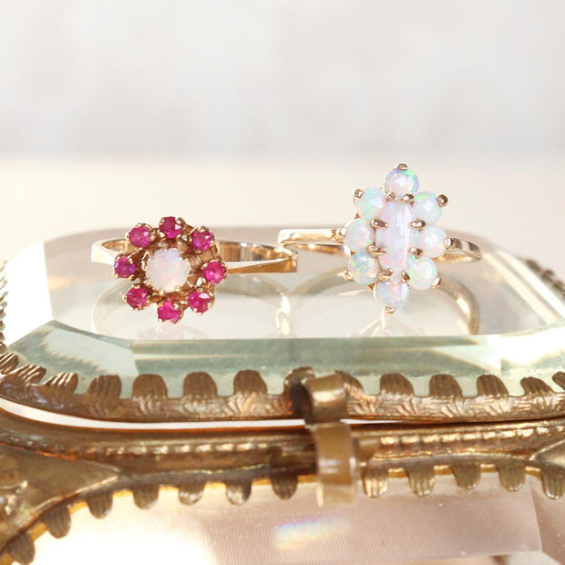 Ruby & Opal Floral Ring