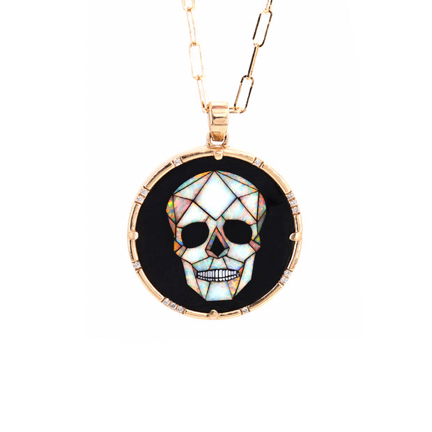 Skull Inlay Diamond Pendant